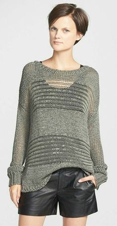 Vince Shadow Stripe Open-knit Sweater in Acorn Summer Knitting, Hand Knitting, Knitting Designs, Knitting Projects, Ropa Free People, Knooking, Nordstrom, How To Purl Knit, Knit Fashion