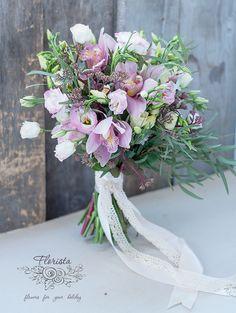 букет невесты, стиль бохо, в стиле бохо, орхидея, растрепанный букет, рыхлый букет