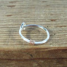 Hoop Earring Silver with Pink Gold Single