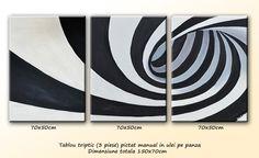 Tablouri Abstracte | Tablou abstract triptic in alb si negru - (150x70cm) | Oferta Pret | Galeria ArtNova