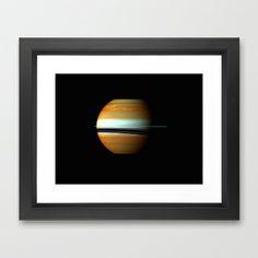 Raging Storm System on Saturn Framed Art Print by Planet Prints - $34.00
