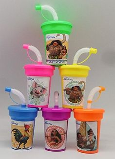 6 Disney Moana Stickers Birthday Sipper Cups with lids Party Favor Cups