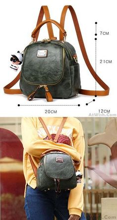 Retro Pure Color Multi-function Small Square PU Shoulder Bag Backpack for  big sale! 167bd3ed1c