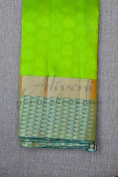 Green Light Weight Kanchipuram Pattu Saree with Teal Green Pure Zari Borders - Aliveni - 1