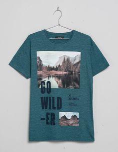 Print T-shirt 'Go Wilder' - T-shirts - Bershka United Kingdom
