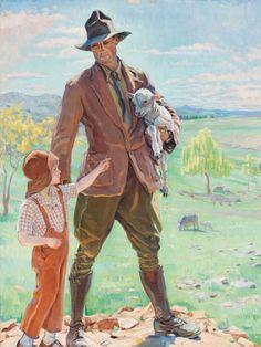 Hilda Rix Nicholas (Australian, 1884 - The Shepherd of Knockalong, oil on canvas, x cm. Ww1 Art, Impressionist Artists, Irish Art, Fine Art Auctions, The Shepherd, Aboriginal Art, Australian Artists, Art Day, Art Forms