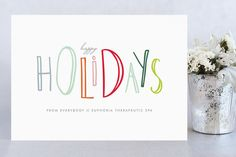 Happy-Go-Lucky Holidays Business Holiday Cards by Up Up Creative at minted.com