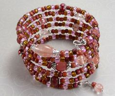 'Pretty in Pink 6X Wrap Bracelet' is going up for auction at 11pm Sun, Aug 5 with a starting bid of $10.