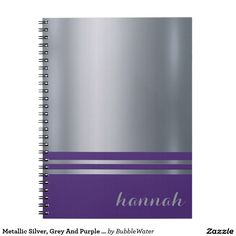 Metallic Silver, Grey And Purple Personalized Spiral Notebook