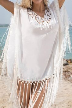 Cover up features loose fit and fringe details. Macrame detail at the neck and the coverup falls to mid-thigh.    Monserrat Cover Up  by Milonga. Clothing - Swimwear - Cover Ups Miami, Florida