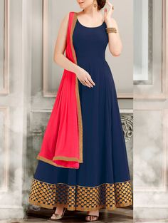Durga Emporio blue georgette embroidered anarkali dress material