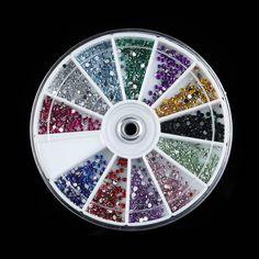 1.5mm 3600pcs Nail Art decorations Glitter Tips Rhinestones Round Gems for Nail Art Nail Beauty