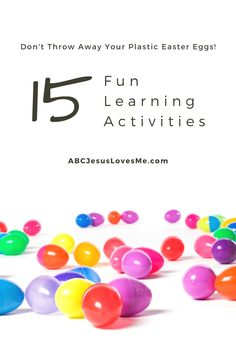 Don't throw away those plastic Easter eggs. Your kiddos will love all of the fun, academic learning activities available with plastic Easter eggs. Here are a few to get started: Math - Basic hide and seek. Then have the child count how many eggs he found. Colors - Have the child seek only one color of eggs. Fine/Gross Motor - Place the egg in a spoon and race to a designated spot without letting the egg drop. Plastic Easter Eggs, Easter Egg Dye, Easter Egg Crafts, Easter Activities, Sensory Activities, Learning Activities, Resurrection Eggs, Easter Story, Learning Time