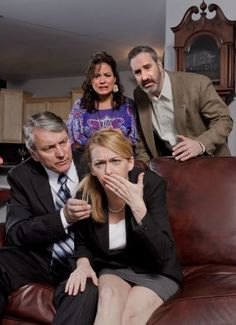 Hubby Alan (Michael McKenzie, seated) tries to take hold of a potentially bad situation, while hosts Veronica and Michael (Brigitte Viellieu-David, Ken Krugman, standing) worry for poor Annette (Brenny Rabine, seated) in Capital Repertory Theatre's production of Yasmina Reza's raucous hit comedy, ''God of Carnage.'' (Joseph Schuyler photo)