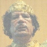 DataSpaceTime's QR code portrait of Qaddafi points to YouTube videos. Image courtesy Microscope Gallery.