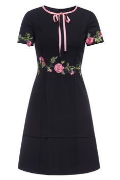 A Line Floral Embroidered Dress