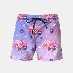 Sailor Moon Chibiusa Pattern Swim Shorts