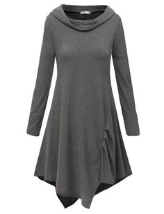 Doublju Hooded Tunic Dress with Unbalanced Flare Hem Line (US-XL) $24.99 #Doublju