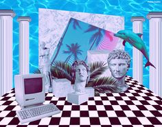 This aesthetic is so weird and random, but for some reason I just like it. Vaporwave Wallpaper, Vaporwave Art, New Media Art, Retro Waves, Badge Design, Design Language, Art Studies, Ancient Art, Aesthetic Pictures