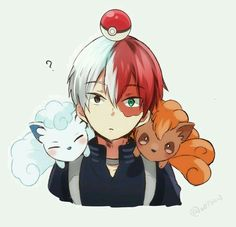 Boku no Hero Academia x Pokemon Cross-Over [ Todoroki Shouto. Manga Anime, Anime Guys, Anime Art, My Hero Academia Shouto, Hero Academia Characters, Chibi, Ken Tokyo Ghoul, Anime Crossover, Cute Gay