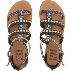 Billabong Seas The Day Sandals Shoes Flats Sandals, Socks And Sandals, Black Flats Shoes, Ankle Strap Flats, Ankle Wrap Sandals, Shoe Boots, Strap Sandals, Billabong Sandals, Black Gladiator Sandals