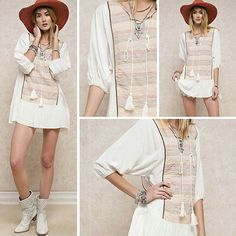 Just in time for spring and already selling out! ✔check out our Vintage Inspired Print and Solid Mix Tunic in Off White @classicpaperdoll ~ pair it with cute boots and hat and u are all set~ #classicpaperdoll #cpdfave #love #boho #fashion #instagood #igdaily #fashionblogger #cpd #outfit #ootd #fashionaddict #instalike #인스타그램 #인스타데일리 #일상 #인스타 #옷스타그램