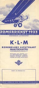 KLM Timetable European routes, 1933