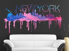 New York watercolor skyline decal for housewares (XL)