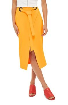 Topshop Topshop Grommet Wrap Midi Skirt available at #Nordstrom