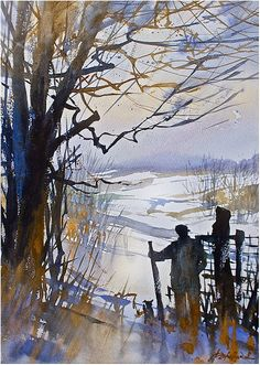 """""""a hike in ohio"""" thomas w schaller -watercolor 22x14 inches - 21 jan 2015 http://thomasschaller.com"""