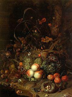 Rachel Ruysch. La Haya 1664- Amsterdam 1750    Frutas, Flores, Reptiles e Insectos 1745. Palazzo Pitti, Florencia. 89 cm x 60 cm Oleo Sobre Lienzo.    Barroco
