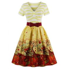 Vintage Striped Elk Forest Print Pin Up Christmas Dress - Yellow S Mobile