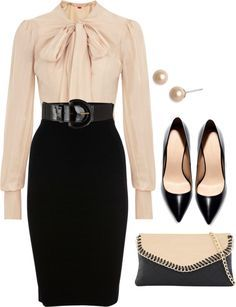 Classic colors, cream with black and a flattering silhouette. Great for an interview, the office or a dinner meeting. #workattire #professionalism
