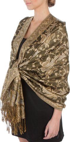 "70 x 28"" Double Layer Jacquard Paisley Pashmina Shawl / Wrap / Stole - Steel Blue"" at Amazon Women's Clothing store: Silk Scarf"