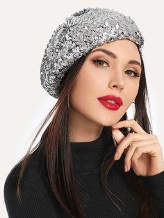 34c87a4cb7bfd Gorgeous Silver Sequin Beret. Would add so much glamour to any apparel! ✨✳