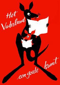 Vintage Vaderland Newspaper Kangaroo Advertising Poster Print