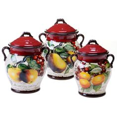 Certified International Botanical Fruit Canister (Set Of 3) (Canister Set),  Red (Ceramic, Country)