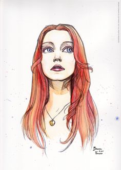 Watercolor portrait of Claire. Freely inspired by the character of Claire Fisher by #sixfeetunder