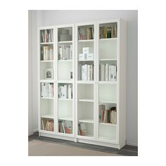 "BILLY / OXBERG Bookcase - white/glass, 63x79 1/2x11 3/4 "" - IKEA"