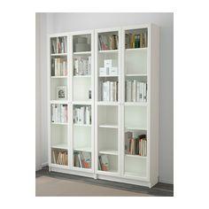 BILLY / OXBERG Bookcase, white, glass white/glass 63x79 1/2x11
