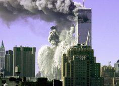 De torens van het World Trade Centre op 9/11