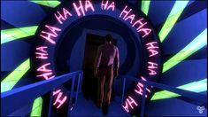 Bruce wayne walking through John Doe ( joker ) 's domain in the batman the enemy within ( what ails you? Batman Telltale, The Enemy Within, John Doe, Bats, Harley Quinn, Joker, Walking, Neon Signs, Friends