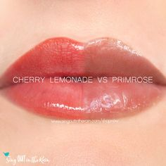 Compare Cherry Lemonade Gloss vs Primrose gloss using this photo.  Cherry Lemonade is a Limited Edition LipSense color introduced by SeneGence in Spring 2020.