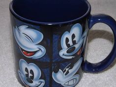 Disney Parks Large Many Faces of Mickey Blue White Coffee Mug Cup Tea | eBay
