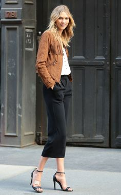 On the Fringe from Celebrity Street Style  Oh Karlie Kloss, you never disappoint. The supermodel steps out in an enviable fringed suede jacket with black culottes and Stuart Weitzman nudist heels.