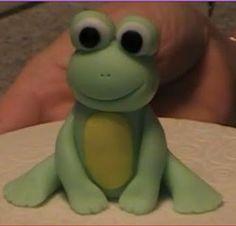 for j's birthday cake- gumpaste frog