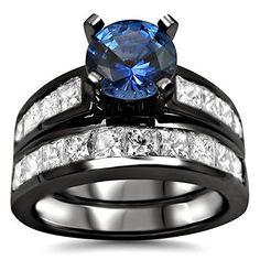 2.85ct Blue Round Sapphire Diamond Engagement Ring Bridal Set 14k Black Gold Rhodium Plating Over White Gold by Front Jewelers - See more at: http://blackdiamondgemstone.com/jewelry/wedding-anniversary/bridal-sets/285ct-blue-round-sapphire-diamond-engagem