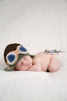 Aviator Newborn Crochet hat  Brown Green tan by SweetTsBoutique, $20.00