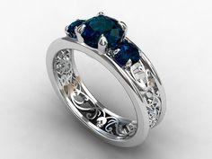 London blue topaz trinity filigree ring   by TorkkeliJewellery, $1590.00