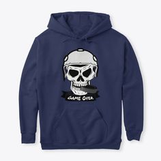 Hockey Puck Skull Game Over Sports Products from NewDesigns Green Tops, Blue Tops, Skull Game, Gift Guide For Men, Hockey Puck, Deep Purple, Hoodies, Clothes For Women, Purple Shirts